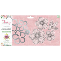 Crafter's Companion - Peony Collection - Die and Clear Acrylic Stamp Set - Layered Peony