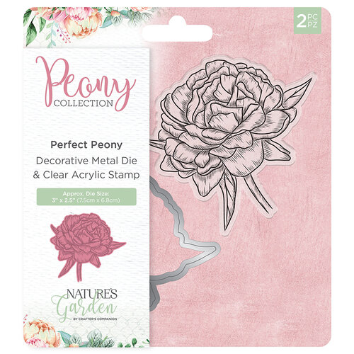 Crafter's Companion - Peony Collection - Die and Clear Acrylic Stamp Set - Perfect Peony