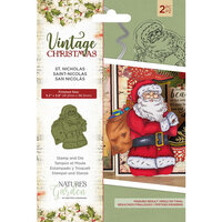 Crafter's Companion - Vintage Christmas Collection - Clear Acrylic Stamp and Die Set - St. Nicholas