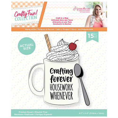 Crafter's Companion - Crafty Fun Collection - Die and Clear Acrylic Stamp Set - Craft in a Mug