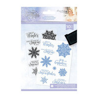 Crafter's Companion - Christmas - Glittering Snowflakes Collection - Clear Acrylic Stamp - Chase The Snowflakes
