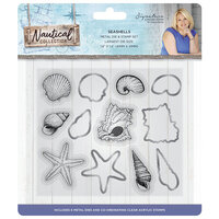 Crafter's Companion - Nautical Collection - Die and Clear Acrylic Stamp Set - Seashells