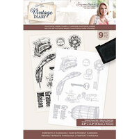 Crafter's Companion - Vintage Diary Collection - Clear Photopolymer Stamps - Perfectly Parisian
