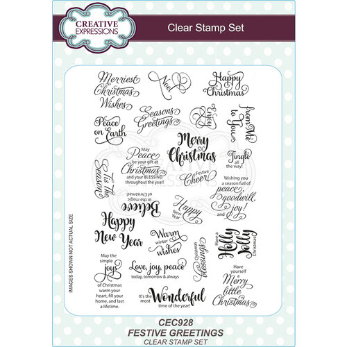 Creative Expressions - Christmas - Clear Acrylic Stamps - Festive Greetings