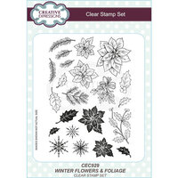 Creative Expressions - Christmas - Clear Acrylic Stamps - Wintery Flowers and Foliage