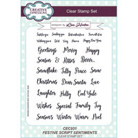 Creative Expressions - Christmas - Clear Acrylic Stamps - Festive Script Sentiments