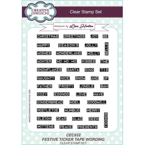 Creative Expressions - Christmas - Clear Acrylic Stamps - Festive Ticker Tape Wording