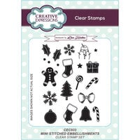 Creative Expressions - Christmas - Clear Acrylic Stamps - Mini Stitched Embellishments