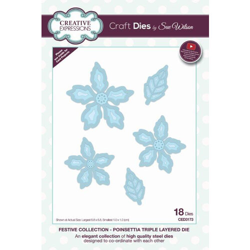 Creative Expressions - Christmas - Festive Collection - Triple Layering Craft Die - Poinsettia