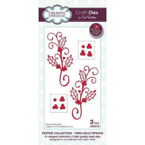 Creative Expressions - Christmas - Festive Collection - Craft Die - Twin Holly Sprays
