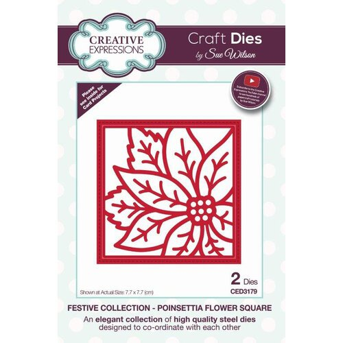 Creative Expressions - Christmas - Festive Collection - Craft Die - Poinsettia Flower Square