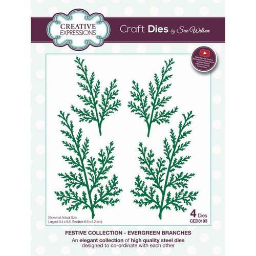 Creative Expressions - Christmas - Festive Collection - Craft Die - Evergreen Branches