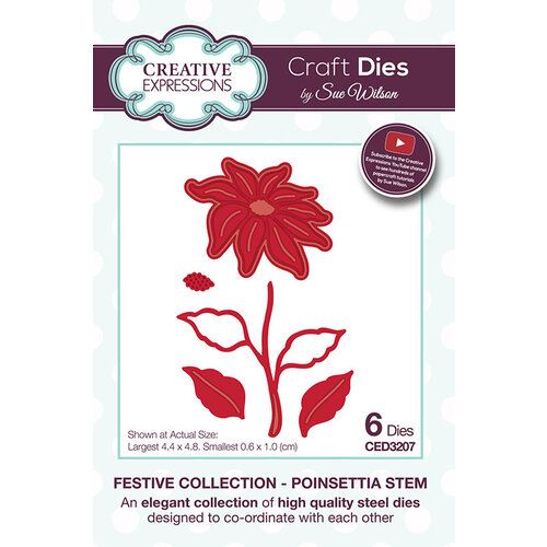 Creative Expressions - Christmas - Festive Collection - Craft Die - Poinsettia Stem
