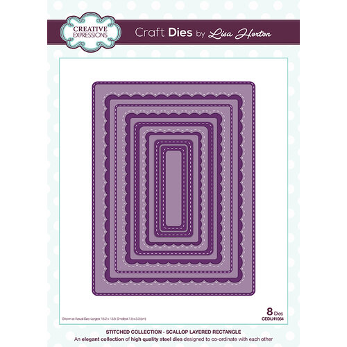 Creative Expressions - Stitched Collection - Dies - Scallop Layered Rectangle