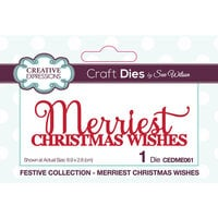 Creative Expressions - Christmas - Festive Collection - Craft Die - Merriest Christmas Wishes