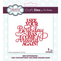 Creative Expressions - Mini Expressions Collection - Craft Die - I See Your Birthday Has Come Around Again