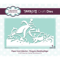 Creative Expressions - Paper Cuts Collection - Christmas - Craft Die - Penguins Sledding Edger