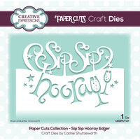 Creative Expressions - Paper Cuts Collection - Craft Die - Sip Sip Hooray Edger