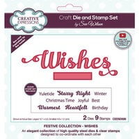 Creative Expressions - Christmas - Craft Dies and Clear Photopolymer Stamp Set - Wishes