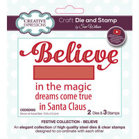 Creative Expressions - Christmas - Festive Collection - Craft Die and Clear Acrylic Stamp Set - Believe