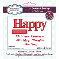 Creative Expressions - Christmas - Festive Collection - Craft Die and Clear Acrylic Stamp Set - Happy