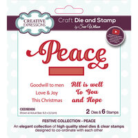 Creative Expressions - Christmas - Festive Collection - Craft Die and Clear Photopolymer Stamp Set - Peace