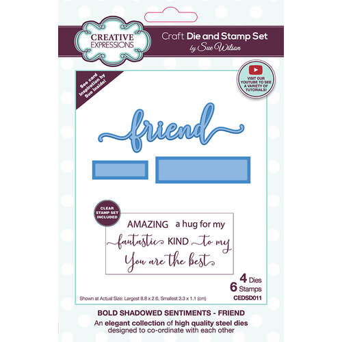 Creative Expressions - Craft Die and Clear Photopolymer Stamp Set - Bold Shadowed Sentiments - Friend