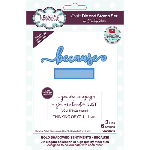 Creative Expressions - Craft Die and Clear Photopolymer Stamp Set - Bold Shadowed Sentiments - Because