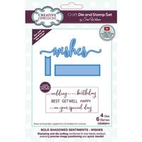 Creative Expressions - Craft Die and Clear Photopolymer Stamp Set - Bold Shadowed Sentiments - Wishes