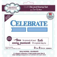 Creative Expressions - Craft Die and Clear Photopolymer Stamp Set - Celebrate