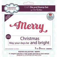 Creative Expressions - Christmas - Craft Dies and Clear Photopolymer Stamp Set - Merry