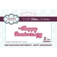 Creative Expressions - Mini Shadowed Sentiments - Dies - Happy Anniversary
