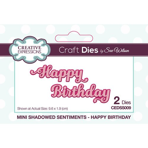 Creative Expressions - Mini Shadowed Sentiments - Dies - Happy Birthday