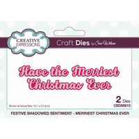 Creative Expressions - Craft Die - Festive Shadowed Sentiment - Merriest Christmas Ever