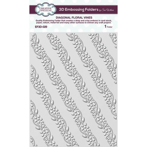 Creative Expressions - 3D Embossing Folder - Diagonal Floral Vines