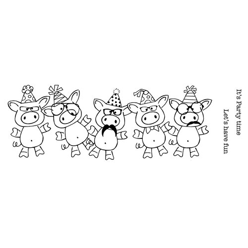 Creative Expressions - Woodware Clear Singles - Clear Photopolymer Stamps - Party Pigs