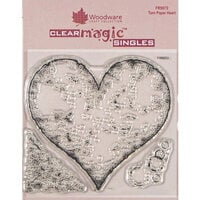 Creative Expressions - Woodware - Clear Acrylic Stamps - Singles - Torn Paper Heart