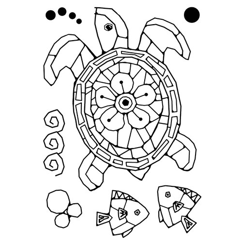 Creative Expressions - Woodware Clear Singles - Clear Photopolymer Stamps - Mosaic Turtle