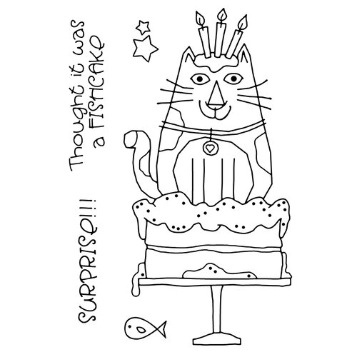 Creative Expressions - Woodware Clear Singles - Clear Photopolymer Stamps - Cat Birthday Cake