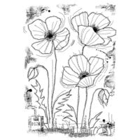 Creative Expressions - Woodware Clear Singles - Clear Photopolymer Stamps - Stitched Poppies