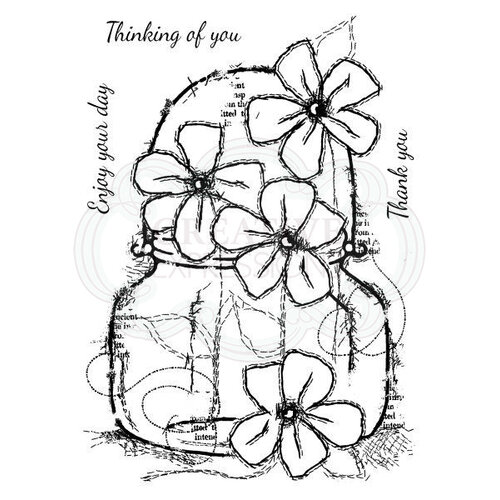 Creative Expressions - Woodware Clear Singles - Clear Photopolymer Stamps - Small Daisy Jar