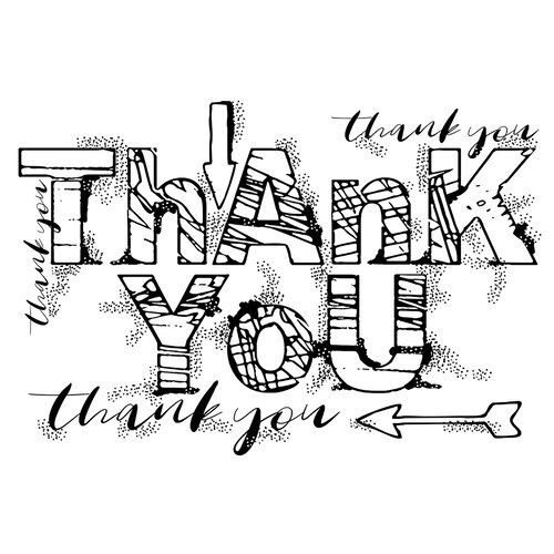 Creative Expressions - Woodware Clear Singles - Clear Photopolymer Stamps - Grungy Thank You