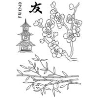Creative Expressions - Woodware Clear Singles - Clear Photopolymer Stamps - Bamboo & Blossom