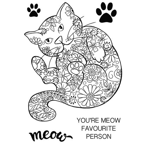 Creative Expressions - Woodware Clear Singles - Clear Photopolymer Stamps - Decorative Cat