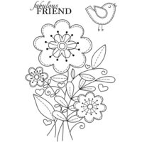 Creative Expressions - Woodware Clear Singles - Clear Photopolymer Stamps - Stitched Flowers
