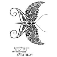 Creative Expressions - Woodware Clear Singles - Clear Photopolymer Stamps - Floral Wings