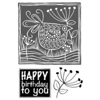 Creative Expressions - Woodware Clear Singles - Clear Photopolymer Stamps - Lino Cut - Chicken In The Grass