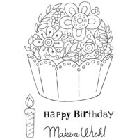 Creative Expressions - Woodware Clear Singles - Clear Photopolymer Stamps - Floral Cup Cake