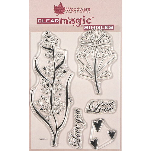 Creative Expressions - Woodware - Clear Acrylic Stamps - Singles - Rustic Hearts
