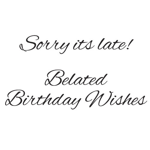 Creative Expressions - Woodware Just Words - Clear Photopolymer Stamps - Sorry It's Late Belated Birthday Wishes